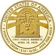 USA $10 Lou Hoover 2014 W Proof KM# 595 ∙ UNITED STATES OF AMERICA ∙ E PLURIBUS UNUM ∙ $10 ∙ 1/2 OZ. .9999 FINE GOLD coin reverse