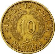Finland 10 Markkaa 1934 S KM# A32 Decimal Coinage SUOMEN TASAVALTA 10 MARKKAA coin reverse