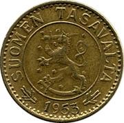 Finland 10 Markkaa 1953 H KM# 38 Decimal Coinage SUOMEN TASAVALTA DATE coin obverse