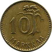 Finland 10 Markkaa 1953 H KM# 38 Decimal Coinage 10 MARKKAA coin reverse