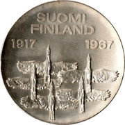 Finland 10 Markkaa 50th Anniversary of Independence 1967 S-H KM# 50 SUOMI FINLAND 1917 1967 coin obverse