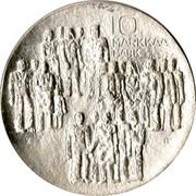 Finland 10 Markkaa 60th Anniversary of Independence 1977 K-H KM# 55 10 MARKKAA MARK coin reverse
