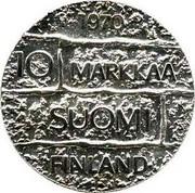 Finland 10 Markkaa 7th President Paasikivi 1970 S-H KM# 51 1970 10 MARKKAA SUOMI FINLAND coin reverse