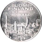 Finland 10 Markkaa Athletic Championships 1971 S-H KM# 52 SUOMI FINLAND 10 MARKKAA coin reverse