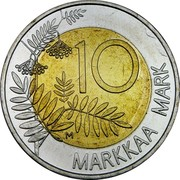 Finland 10 Markkaa EU Presidency 1999 M KM# 91 10 MARKKAA MARK coin reverse