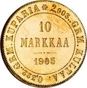 Finland 10 Markkaa Wide eagle 1905 L KM# 8.2 2,903.. GRM. KULTAA. 0,322.. GRM. KUPARIA 10 MARKKAA DATE coin reverse
