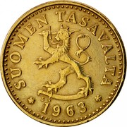 Finland 10 Pennia 1963 S KM# 46 Reform Coinage SUOMEN TASAVALTA DATE coin obverse