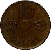Finland 10 Pennia Without center hole 1941 KM# 33.2 10 PENNIÄ coin reverse