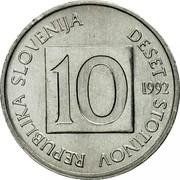 Slovenia 10 Stotinov 1992 KM# 7 Standart Coinage REPUBLIKA SLOVENIJA DESET STOTINOV 10 YEAR coin obverse