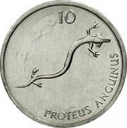 Slovenia 10 Stotinov 1992 KM# 7 Standart Coinage 10 PROTEUS ANGUINUS coin reverse
