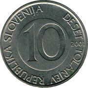 Slovenia 10 Tolarjev 2001 KM# 41 Standart Coinage REPUBLIKA SLOVENIJA DESET TOLARJEV 10 2004 coin obverse