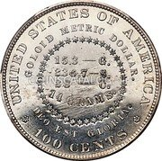 USA 100 Cents (Goloid Metric (Pattern)) UNITED STATES OF AMERICA GOLOID METRIC DOLLAR. 15.3 - G. 236.7 - S. 28 - C. 14 GRAMS. DEO EST GLORIA. 100 CENTS coin reverse