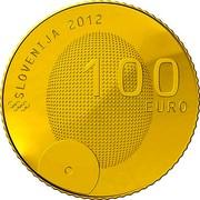 Slovenia 100 Euro 1st Slovene Olympic Medalist 2012 Proof KM# 111 SLOVENIJA 2012 100 EURO coin obverse