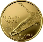 Finland 100 Euro 200th Anniversary of the Bank of Finland 2011 V Proof KM# 164 SUOMEN PANKKI 1811 ∙ 2011 FINLANDS BANK V coin reverse