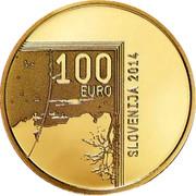 Slovenia 100 Euro 200th Birth anniversary inventor Janez Puhar 2014 Proof KM# 120 100 EURO SLOVENIJA 2014 coin obverse