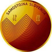 Slovenia 100 Euro 20th anniversary of Slovenia's Independence 2011 Proof KM# 103 SAMOSTOJNA SLOVENIJA 1991 2011 coin reverse