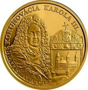 Slovakia 100 Euro 300th Anniversary of the Coronation of Charles III 2012 Proof KM# 125 KORUNOVÁCIA KAROLA III. BRATISLAVA 1712 coin reverse