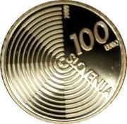 Slovenia 100 Euro Aircraft Flight Anniversary 2009 Proof KM# 87 SLOVENIJA 100 EURO 2006 coin obverse
