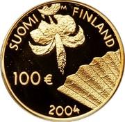 Finland 100 Euro Albert Edelfelt 2004 M-M Proof KM# 117 SUOMI M FINLAND 100 € 2004 coin obverse
