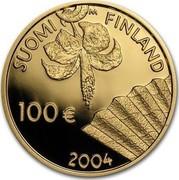 Finland 100 Euro Albert Edelfelt 2004 T Proof KM# 175 SUOMI FINLAND 100 € 2004 coin obverse