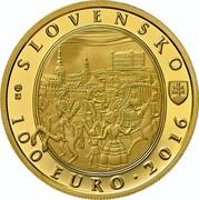 Slovakia 100 Euro Bratislava Coronations - 275th anniversary of the coronation of Maria Theresa 2016 Proof SLOVENSKO 100 EURO 2016 coin obverse