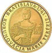 Slovakia 100 Euro Bratislava Coronations - 275th anniversary of the coronation of Maria Theresa 2016 Proof ∙ BRATISLAVA ∙ 1741 ∙ KORUNOVÁCIA MÁRIE TERÉZIE coin reverse