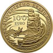 Slovakia 100 Euro Caves of Slovak Karst 2017 JASKYNE SLOVENSKÉHO KRASU SVETOVÉ PRÍRODNÉ DEDIČSTVO 100 EURO coin reverse