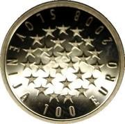 Slovenia 100 Euro EU Presidency 2008 Proof KM# 79 PREDSEDOVANJE EVROPSKI UNIJI - JANUAR - JUNIJ 2008 FACTA LOQUUNTUR coin reverse