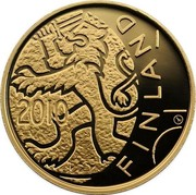 Finland 100 Euro Finnish Lion 2010 P Proof KM# 150 2010 FINLAND coin reverse