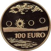 Finland 100 Euro Lappland Midnight Sun 2002 M J-M Proof KM# 109 100 EURO coin reverse