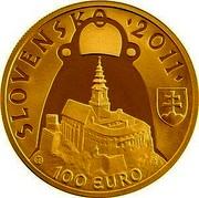 Slovakia 100 Euro Nitrian Principality Pribina 2011 Proof KM# 119 SLOVENSKO 2011 100 EURO coin reverse