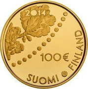 Finland 100 Euro Numismatics 2014 Proof, numbered KM# 223 2014 100 € SUOMI FINLAND coin obverse