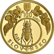 Slovakia 100 Euro Primeval Beech Forests of the Carpathians 2015 MK Proof 100 EURO SLOVENSKO 2015. coin obverse