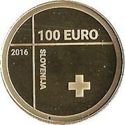 Slovenia 100 Euro Red Cross 2016 Proof 100 EURO 2016 SLOVENIJA coin obverse