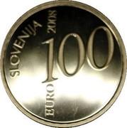 Slovenia 100 Euro Valentin Vodnik 2008 Proof KM# 77 SLOVENIJA EURO 100 2008 coin obverse