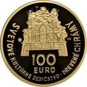 Slovakia 100 Euro Wooden Churches 2010 Proof KM# 113 100 EURO SVETOVÉ KULTÚRNE DEDIČSTVO DREVENÉ CHRÁMY coin obverse