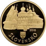 Slovakia 100 Euro Wooden Churches 2010 Proof KM# 113 2010 SLOVENSKO coin reverse