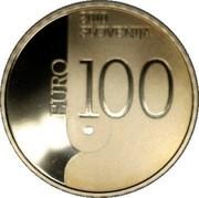 Slovenia 100 Euro World Book Capital - Ljubljana 2010 Proof KM# 97 2010 SLOVENIJA EURO 100 coin obverse