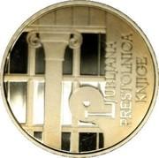 Slovenia 100 Euro World Book Capital - Ljubljana 2010 Proof KM# 97 LJUBLJANA PRESTOLNICA KNJIGE coin reverse