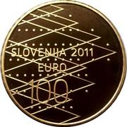 Slovenia 100 Euro World Rowing Championships - Bled 2011 Proof KM# 105 SLOVENIJA 2011 EURO 100 coin obverse