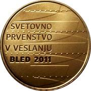 Slovenia 100 Euro World Rowing Championships - Bled 2011 Proof KM# 105 SVETOVNO PRVENSTVO V VESLANJU BLED 2011 coin reverse