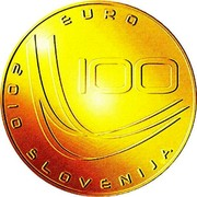 Slovenia 100 Euro World Ski Jumping Championships - Planica 2010 Proof KM# 99 EURO 100 2010 SLOVENJIA coin obverse