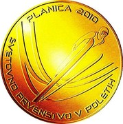 Slovenia 100 Euro World Ski Jumping Championships - Planica 2010 Proof KM# 99 PLANICA 2010 SVETOVNO PRVENSTVO V POLETIH coin reverse