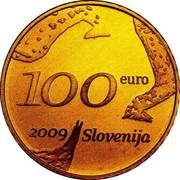 Slovenia 100 Euro Zoran Music 2009 Proof KM# 89 100 EURO 2009 SLOVENIJA coin obverse