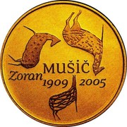 Slovenia 100 Euro Zoran Music 2009 Proof KM# 89 ZORAN MUSIC 1909 2005 coin reverse