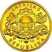 Latvia 100 Latu Development 1998 Proof KM# 40 LATVIJAS REPUBLIKA 19 98 coin obverse