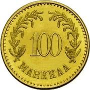 Finland 100 Markkaa 1926 S KM# 28 Decimal Coinage 100 MARKKAA coin reverse