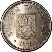 Finland 100 Markkaa 1956 H KM# 41 Decimal Coinage SUOMEN TASAVALTA 1956 coin obverse
