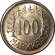Finland 100 Markkaa 1956 H KM# 41 Decimal Coinage 100 MARKKAA coin reverse