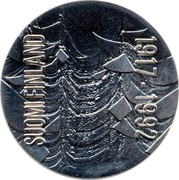 Finland 100 Markkaa 75th Anniversary of Independence 1992 M-S KM# 71 SUOMI FINLAND 1917-1992 coin obverse
